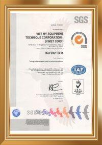VIMET CORP ĐẠT CHỨNG NHẬN ISO 9001 : 2015