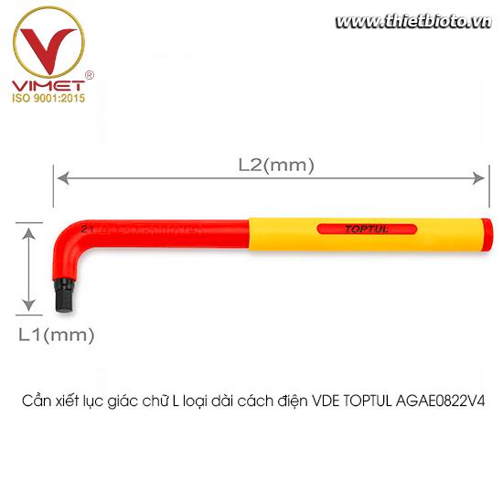 Cần xiết lục giác chữ L loại dài cách điện VDE TOPTUL AGAE0822V4