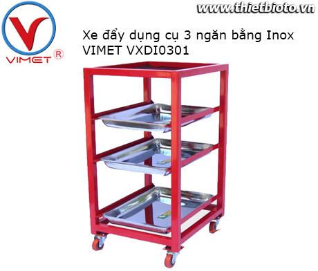 Xe đẩy dụng cụ 3 ngăn inox Vimet VXDI0301