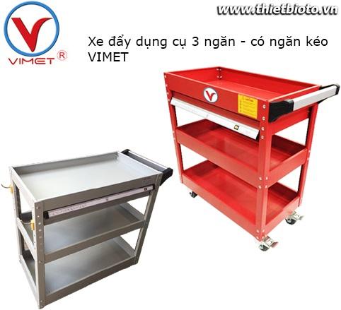 Xe đẩy dụng cụ 3 ngăn có ngăn kéo VIMET VM-903